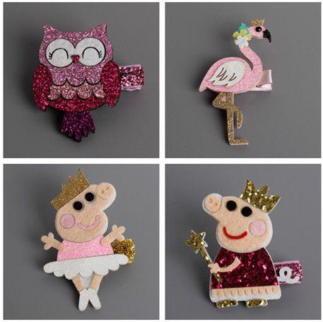 2 stks Korea Handgemaakte Pig Flamingos Uil Zwaan Dier Haaraccessoires Clip Bloem Kroon Haarspeld Hoofdbanden voor Meisjes 3