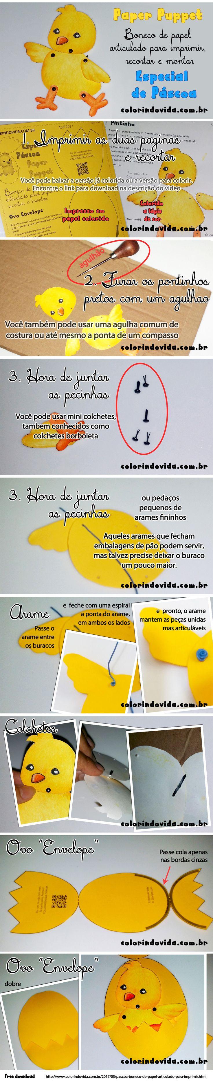 Boneco de Papel para Páscoa / Paper Puppet: http://www.colorindovida.com.br/2017/03/pascoa-boneco-de-papel-articulado-para-imprimir.html