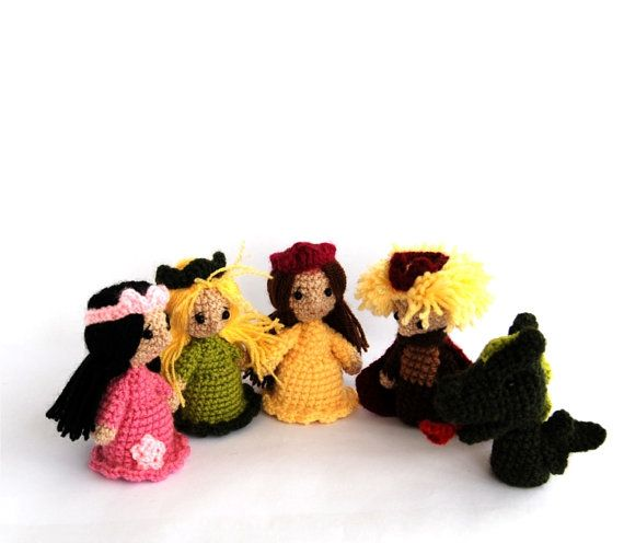 princess prince and dragon puppets crochet fairy tail by ...