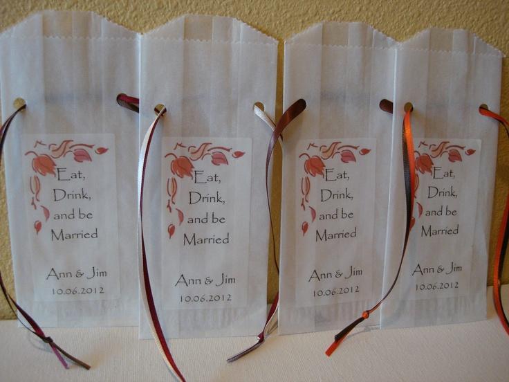 100 Fall Wedding Favor Bags