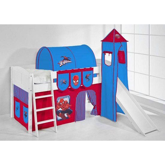 IDA Spiderman Children Bed In White With Tower And Curtains #spiderman #childrensbedwithstorage