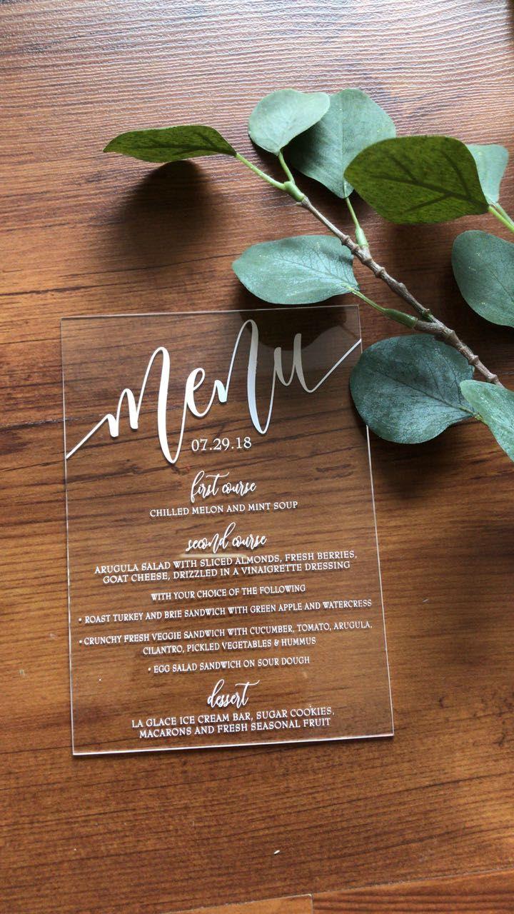 Gorgeous Acrylic Menu In White Ink Transparent Menu Wedding Menu