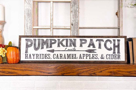 """LARGE PUMPKIN PATCH Hand Painted Sign, Wooden With Trim, 36""""x9"""" Sign, Black Lettering, Vintage Inspired, Blogger, Gallery Wall"""