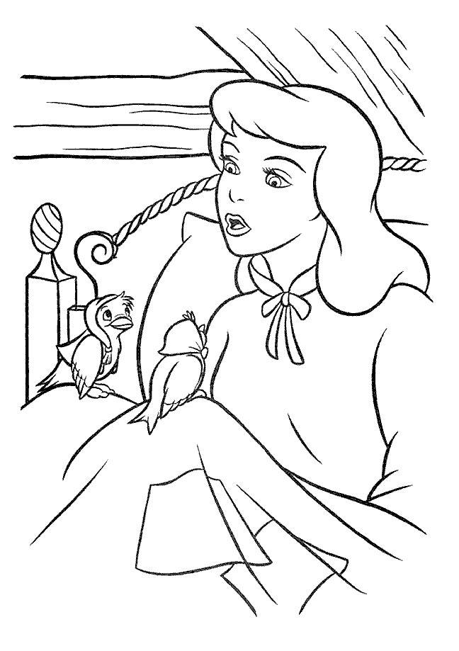 Talking Cinderella With Birds Coloring Pages