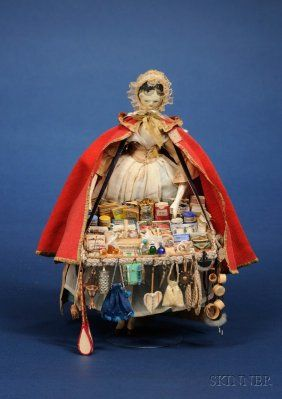 early Grodnerthal tuck comb wooden peddler doll, 1830s
