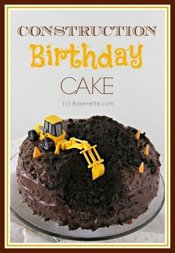 Take a look at the coolest construction birthday cake with a step-by-step pictorial on how to make. Bakerette.com.   This might be close to what we'd do except the excavator would be on the side and we could do his name on it and a number 5 on it.