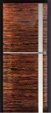 New Age NA08 - drzwi wewnętrzne drewniane, skrzydło fornirowane heban, ościeżnica lakierowana, całość szlifowane na wysoki połysk, tafla licowana z płaszczyzną, intarsje poziome ze stali nierdzewnej, zawiasy ukryte.
