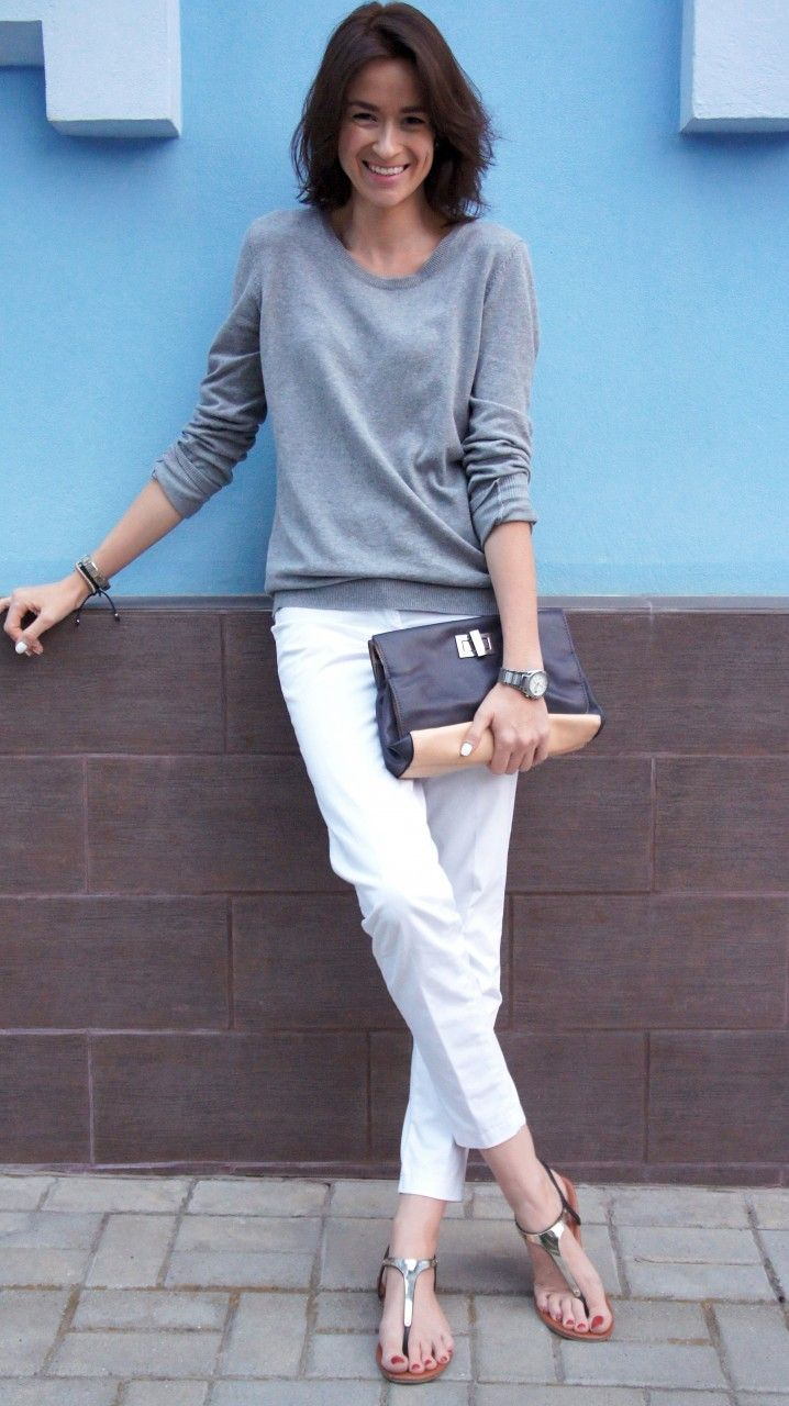 BASIC GREY grey color pullover white pants summer