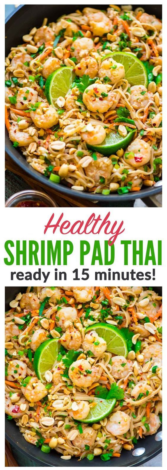 Healthy Shrimp Pad Thai. EASY and SO delicious! Ready in 15 minutes. We couldn't stop eating it! Recipe at http://wellplated.com | /wellplated/ {gluten free}