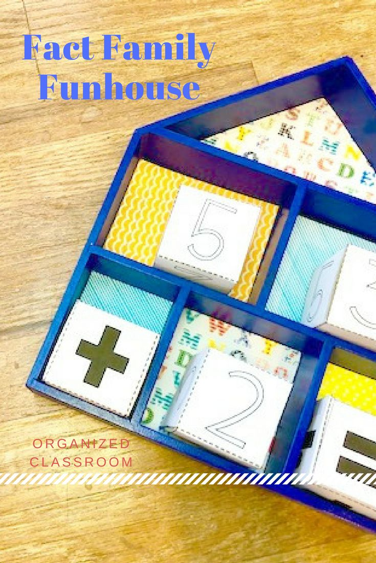 Looking for a novel way to showcase fact families to your students?  This physical house will help students to visualize how fact families are related facts.  While you're there, grab the free printable packet with dice and a worksheet to practice their new skills! #factfamily #mathgames
