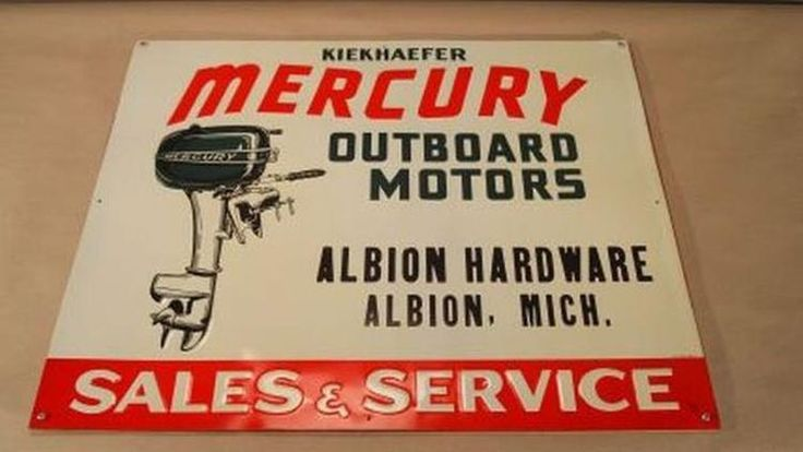 New Old Stock Embossed Metal Mercury Kiekhaefer Outboard