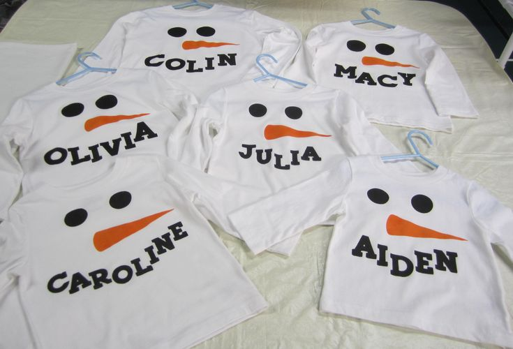 Personalized Snowmen shirts made using my Cricut machine. Designed each one using Cricut Craft Room, then cut out a freezer paper stencil for each, ironed the stencil on the shirt and using fabric paints and a sponge brush, painted them. Can't wait to get a picture of my grandkids wearing them!