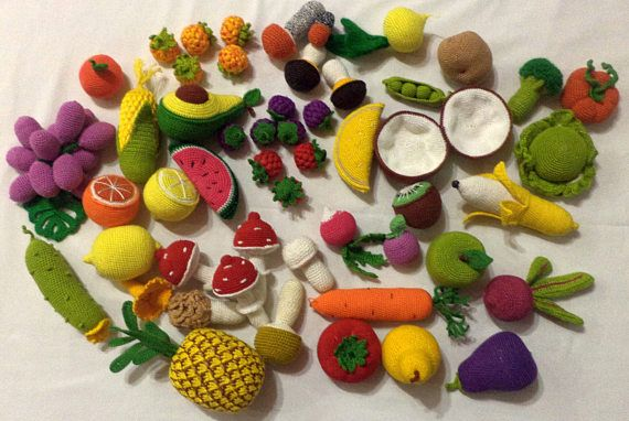 Crochet play food set 45pcs Crochet vegetables and fruit