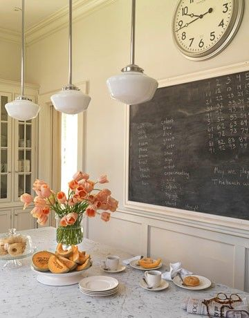 Schoolhouse pendants, big clock, chalkboard (Ballards), and windowed hutch.