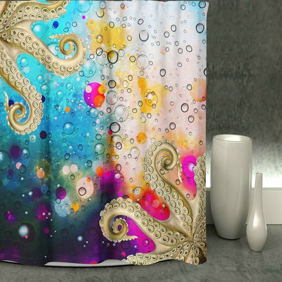 Octopus Shower Curtain, Octopus Tentacles Pretty and unique decor for your bathroom Made of Durable softened polyester, your fabric shower curtain comes ready to hang with twelve stitch-enforced eyelets (shower hooks not included). Machine washable, no bleach please.