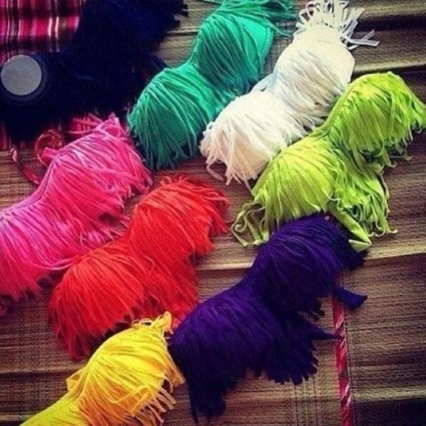 swimwear, bikini, colour, summer, fringe bikini, pink, green, yellow, orange, blue, white - Wheretoget