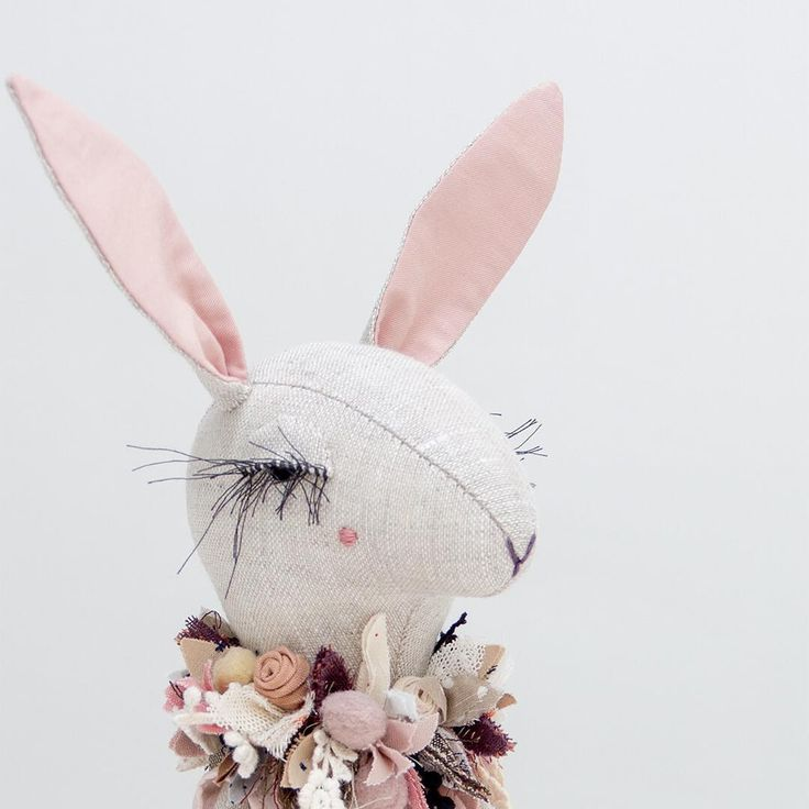 Update: SOLD • • • • • #lenabekh #handmadedoll #textiledoll #textileart #softsculpture #heirloomdoll #ragdoll #ooakdoll #clothdoll #dollmaker #dollartist #kidsroomdecor #fabricmanipulation #needlework #lacelover #patchwork #flowercrown #flowercollar #powderpink #delicate #textiledesign #bunny #hare #rabbit #bunny #bunnydoll #lapine #poupée #doudou