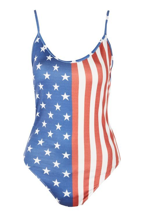 USA Flag Motif Bodysuit