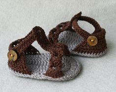 100% Cotton Crochet Baby Boy Sandals in Brown and dark Grey ,with wooden buttons size 3-6 months, ready to ship