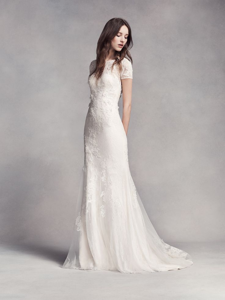 High neckline wedding gown white by vera wang short for Short wedding dress with lace sleeves