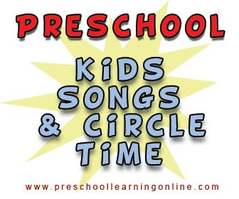 Preschool children songs, preschool circle time songs & songs for preschool learning for the classroom or at home on a variety of fun subjects. #kidssongs #preschoolsongs http://www.preschoollearningonline.com/preschool-songs.html