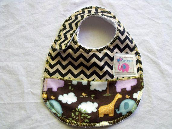 Baby Bib  boys chevron jungle animals elephants by KidsAspire, $8.50