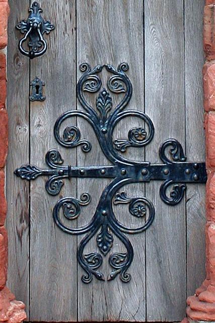 Ornate Hinge Medieval Door Wrought Iron Design Wooden Doors