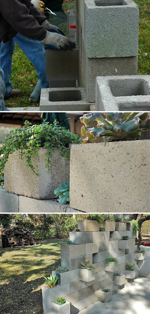 5 Ways to Use Cinder Blocks in the Garden • Lots of creative projects, ideas and tutorials! Including, from 'j peterson garden design', this cinder block succulent planter project.