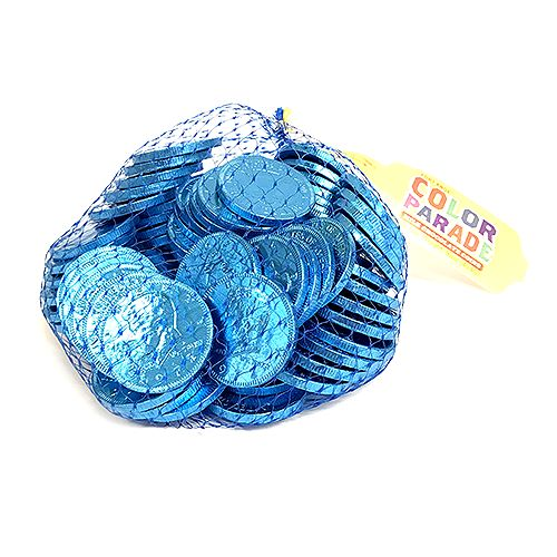 Fort Knox Caribbean Blue Milk Chocolate Coins - 1 LB Mesh Bag