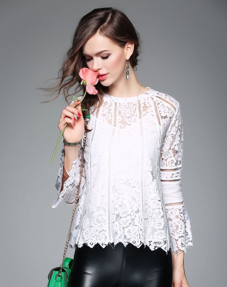 Click to see the details about this White Lace Floral Sexy Blouse from ZERACO. VIPme.com offers high-quality blouses at affordable prices.