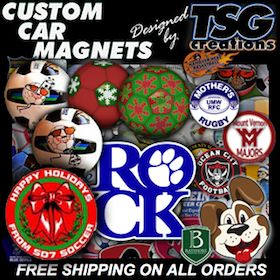 Custom #Car #Magnets. Holiday special #events - #Soccer #Basketball #Tournaments - all need #promotion. Get your #message on wheels using the best #value #impact in #CarMagnets, #decals, & #customballs at http://www.TSGcreations.com & at the REAL #tsgsports at http://www.TSGsports.com