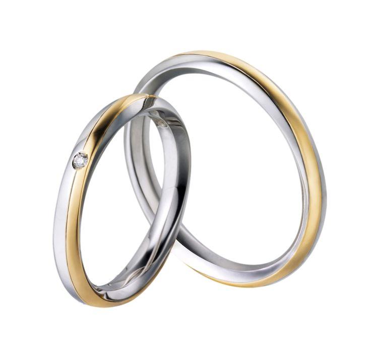 Snubní prsteny P2557 v kombinaci bílého a žlutého zlata. Dámský prsten zdoben briliantem.