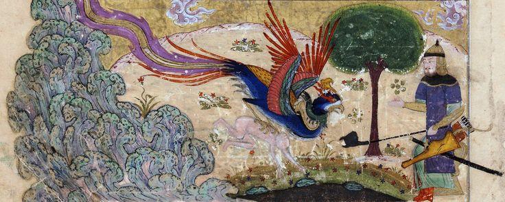 Style Shiraz Le Sîmurgh ramenant Zâl à son père Sâm, Vers 1440 (detail)
