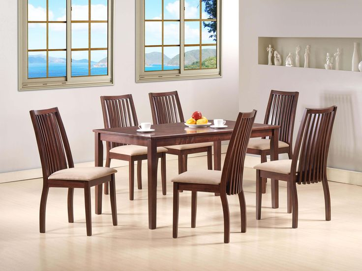 MICHU DINING SET -  This classic look will definitely go well with a spacious dining setting yet also fits perfectly into a small cozy space; 6 SEATER; PRICE : Rs. 39,380/-; Buy now: http://tfrhome.com/landing/productlandingpage.php?product_code=ds-07