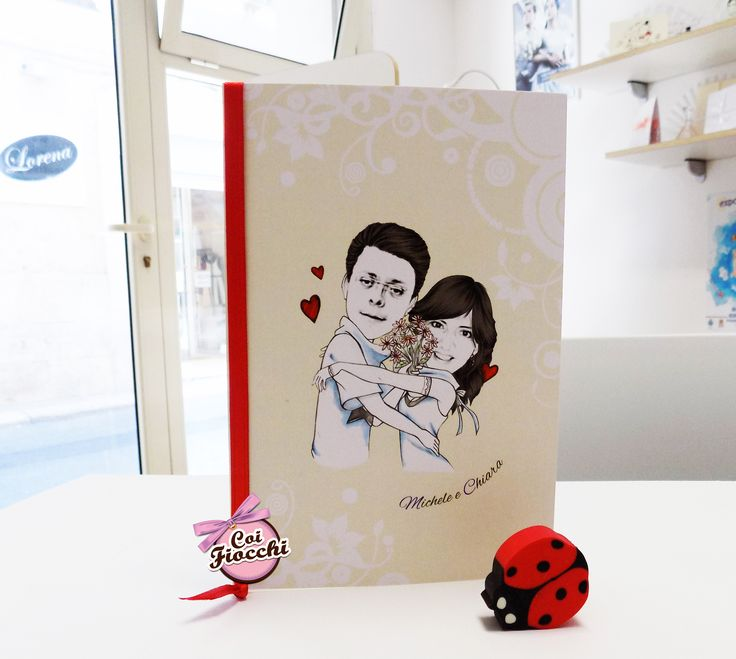 Partecipazione di nozze con caricatura degli sposi