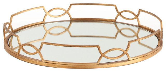 Hollywood Regency Large Gold Link Mirrored Tray transitional-serving-trays