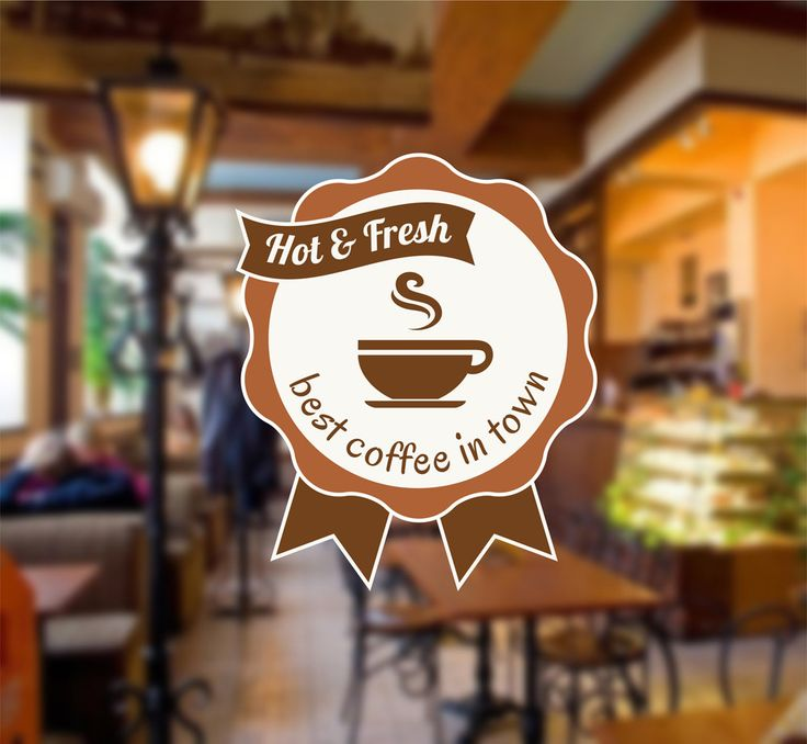 cik1301 Full Color Wall decal hot fresh best coffee cup coffee restaurant snack