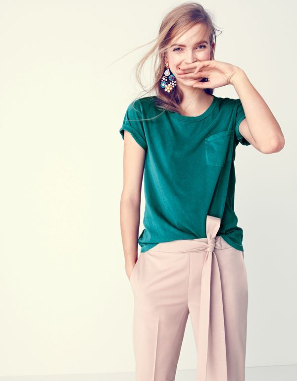 J.Crew women's garment-dyed pocket T-shirt, tie-front pant and sequin and crystal rose earrings.