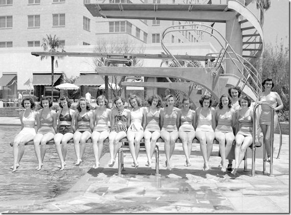 The Shamrock Hilton was an old Houston landmark that's now gone.  This is was their sychronized swimming team the Corkettes.