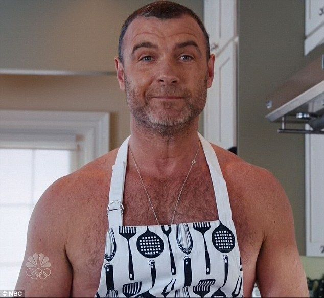 Making breakfast: Liev Schreiber made a nearly naked cameo on Saturday Night Live in the show hosted by Adam Driver