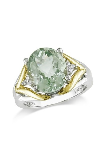 14k Yellow Gold Accented Pave Diamond Green Amethyst Ring