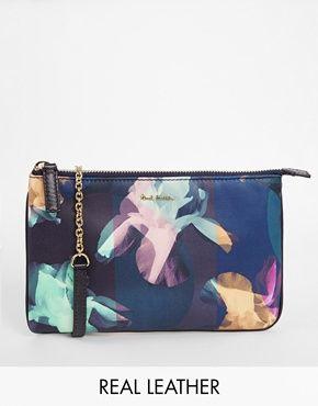 Paul Smith Leather Iris Print Cross Body Bag