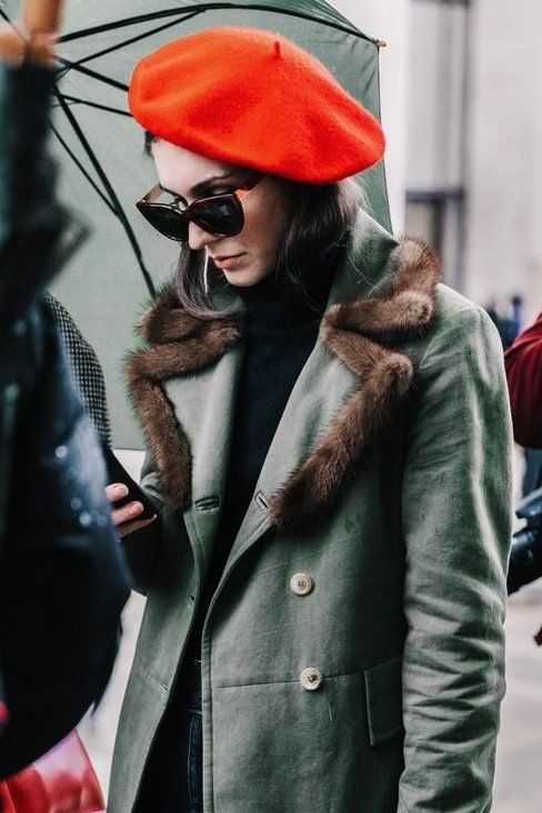 A red-orange beret brings some color to the gloomy days ahead...