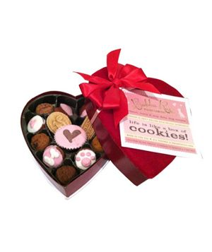 Bubba Rose Heart Box  Show Fido some love too with a treat box filled with 14 decadent doggie delights like chicken truffles, snickerdoodles, and belly rubs. Look out Olivia and Oliver!