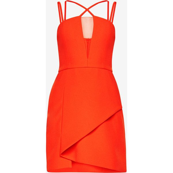 BCBGMAXAZRIA Linzee Cutout Dress (910 AED) ❤ liked on Polyvore featuring dresses, night out dresses, plunging neckline cocktail dress, party dresses, red asymmetrical dress and red cocktail dress