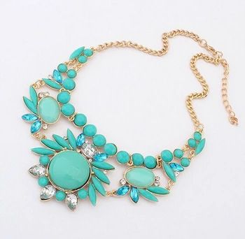 Fine Jewelry Summer Style Collares Statement Necklaces & Pendants Imitated Gemstone Collier Femme for Women Holiday Accessories
