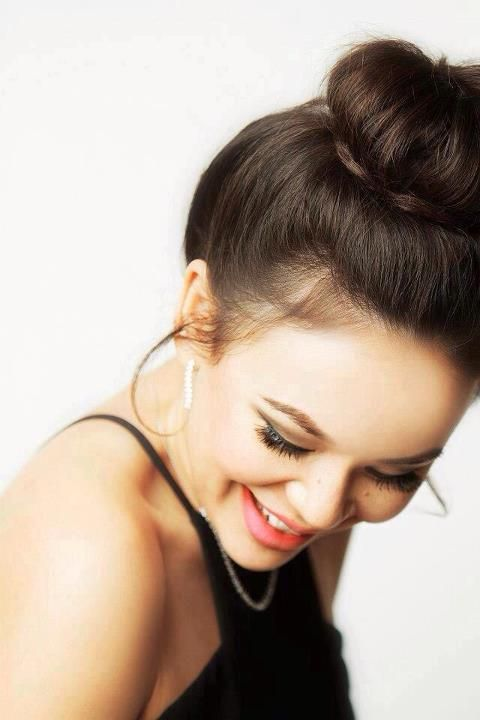 Janel Parrish. makeup and hair