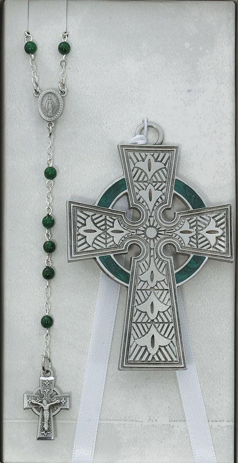 Irish Crib Set with Celtic Cross & Rosary | Irish Baby & Baptism Gifts | Irish baby, Baby baptism gifts, Baptism gifts