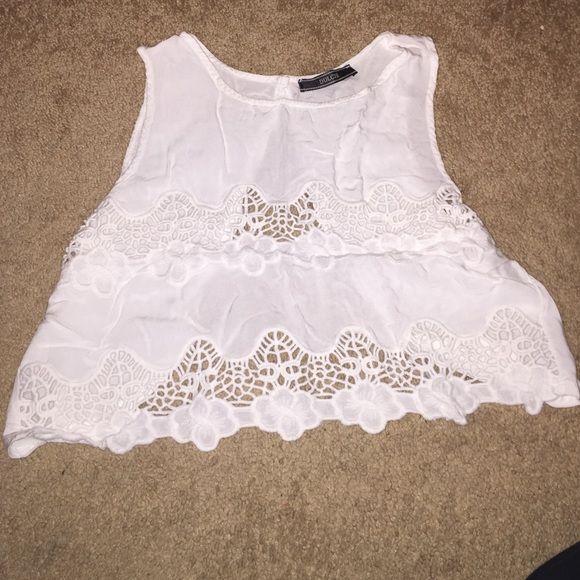 Shirt Open back white shirt never worn Tops Crop Tops