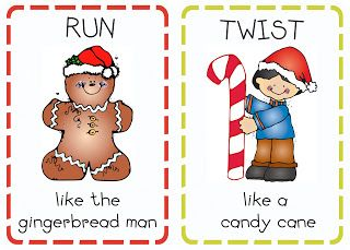 """12 FREE action cards perfect for getting the wiggles out in December.  Includes cute actions like:  """"Prance like a reindeer""""; """"Twirl like a snowflake""""; """"Roll like an ornament"""" etc."""